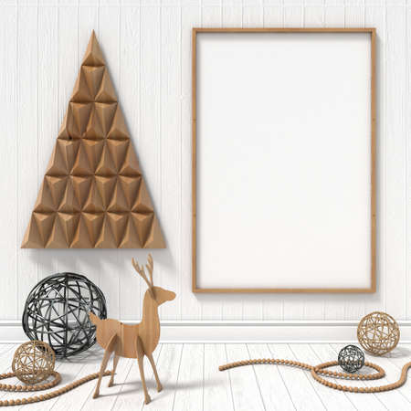 christmas concept: Mock up blank picture frame, Christmas decoration. 3D render illustration