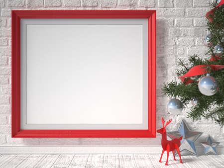 retro frame: Mock up poster with red reindeer, Christmas tree and stars. 3D render illustration