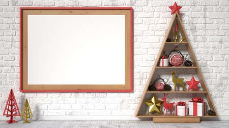 Mock up blank picture frame, Christmas decoration and gifts. 3D render illustration Reklamní fotografie - 49544750