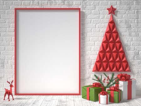 cajas navideñas: Maqueta marco en blanco, la decoración de Navidad y regalos. 3D render ilustración