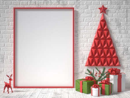 christmas concept: Mock up blank picture frame, Christmas decoration and gifts. 3D render illustration