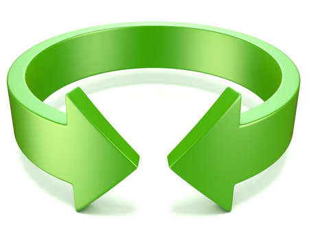 flexure: Green, horizontal rotation, arrow sign. 3D illustration isolated on white background
