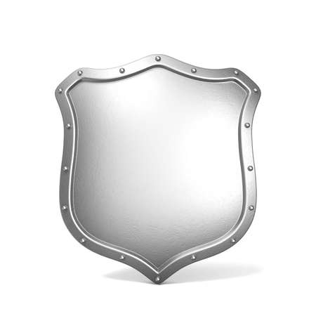 Metal shield. 3D render illustration isolated on white background 스톡 콘텐츠