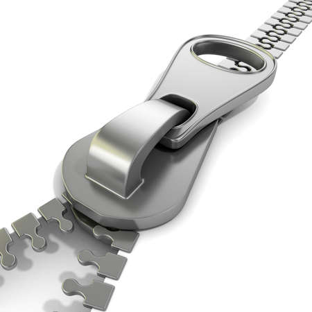 unbuttoned: Zipper macro view. 3D render illustration isolated on white background