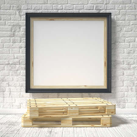 mocks: Mock up poster with wooden pallet. 3D render illustration isolated on a white background