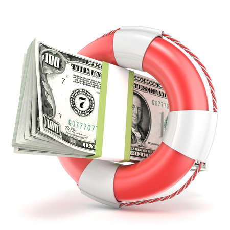 Life buoy with dollars banknote. 3D render illustration isolated on a white background Imagens