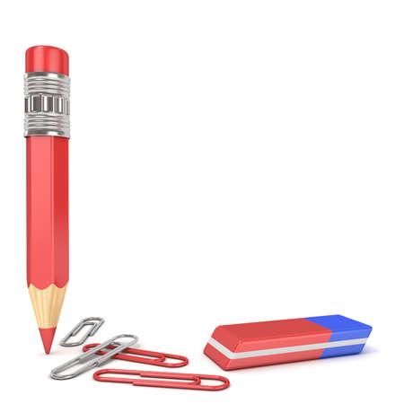 Pencil, eraser and paper clip. 3D render illustration isolated on white background