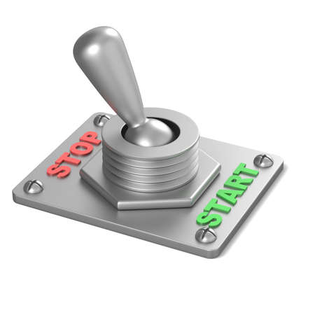 toggle switch: Metal toggle switch, flipped in the STOP position. 3D render illustration isolated on white background Stock Photo