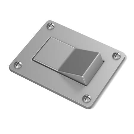 angled view: Blank, silver, power switch button. Angled view. 3D render illustration isolated on white background