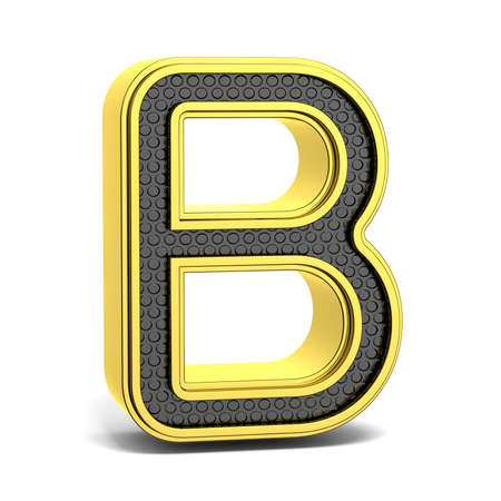alphabet letter a: Golden and black round alphabet. Letter B. 3D render illustration isolated on white background with soft shadow Stock Photo