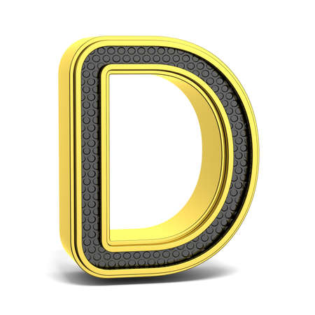 d: Golden and black round alphabet. Letter D. 3D render illustration isolated on white background with soft shadow Stock Photo