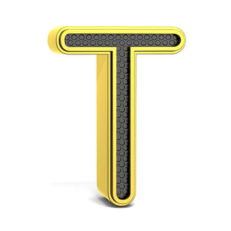 t background: Golden and black round alphabet. Letter T. 3D render illustration isolated on white background with soft shadow