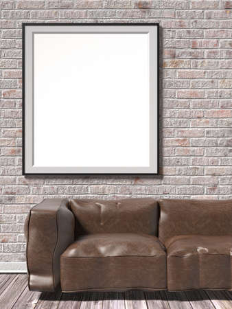 leather sofa: Mock up white empty picture frame with brown leather sofa. 3D render illustration