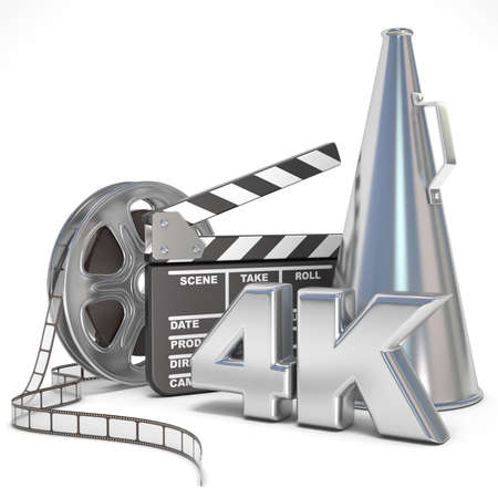 Video, movie, cinema production concept. Reels, clapperboard, megaphone and 4K. 3D render illustration isolated on white background Фото со стока - 52218522
