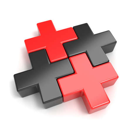 cross match: Black and red abstract plus jigsaw puzzle pieces. 3D render illustration isolated on white background