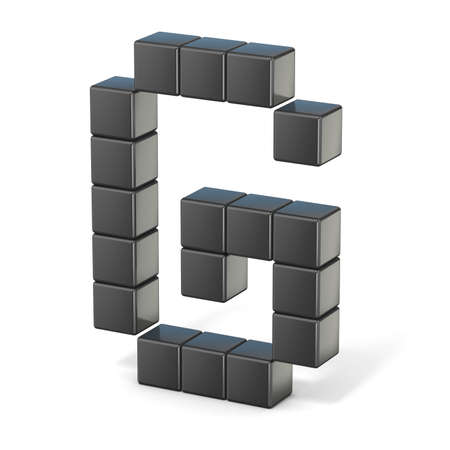 8 bit font. Capital letter G. 3D render illustration isolated on white background Reklamní fotografie - 52794510