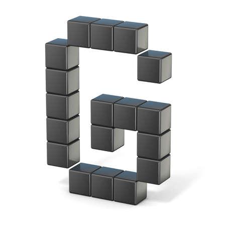 8 bit font. Capital letter G. 3D render illustration isolated on white background