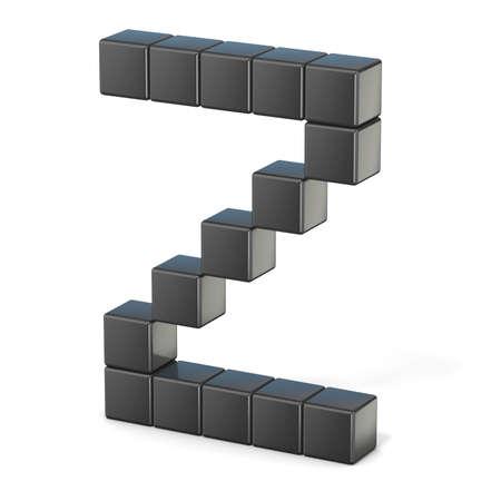 letras negras: fuente de 8 bits. render 3D Z. letra mayúscula ilustración aislado sobre fondo blanco