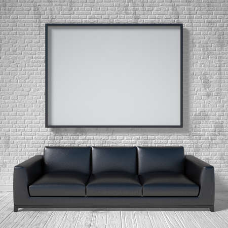 Mock up poster, black leather sofa. 3D render illustration Фото со стока