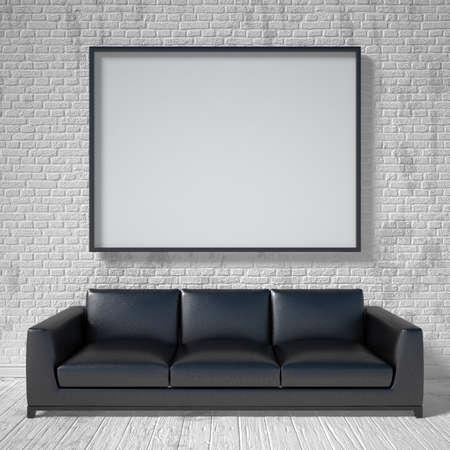 black leather: Mock up poster, black leather sofa. 3D render illustration Stock Photo