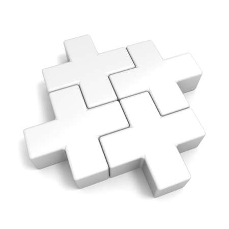 cross match: White abstract plus jigsaw puzzle pieces. 3D render illustration isolated on white background Stock Photo