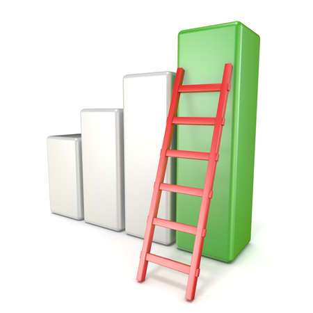 ladder success: Statistic graph with ladder. Success concept. 3D render illustration isolated on white background Stock Photo