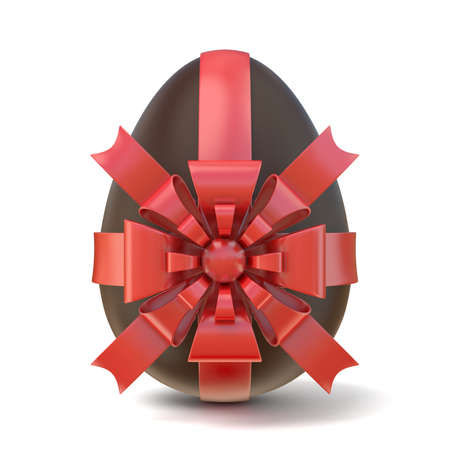 paschal: Chocolate Easter egg with red ribbon. 3D render illustration isolated on white background