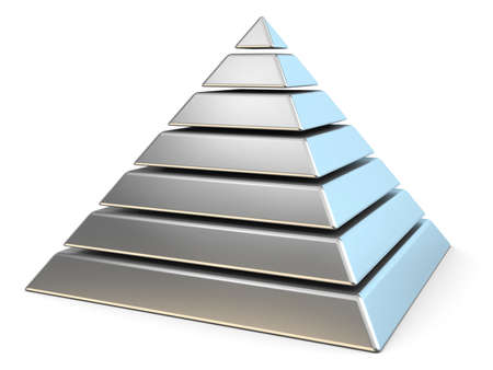 Steel pyramid with seven levels. 3D render illustration isolated on white background