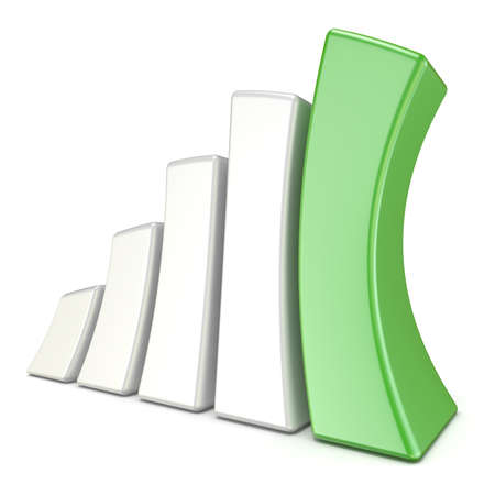 squeezed: Squeezed 3D growth graph bars. Success concept. 3D render illustration isolated on white background