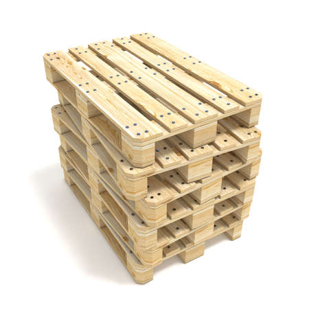 euro pallet: Wooden Euro pallets. 3D render illustration isolated on white background