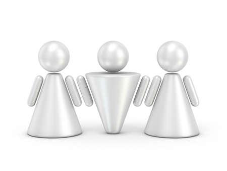 figuras abstractas: Tres figuras abstractas. 3D rinden la ilustración aislada en el fondo blanco Foto de archivo