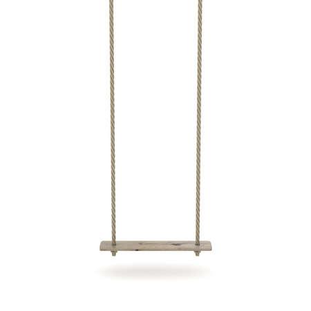 Swing van touw en een houten plank. 3D render illustratie op een witte achtergrond Stockfoto