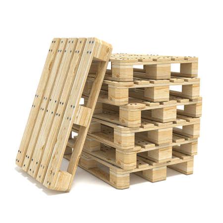 Wooden Euro pallets. 3D render illustration isolated on white background 版權商用圖片 - 55086343