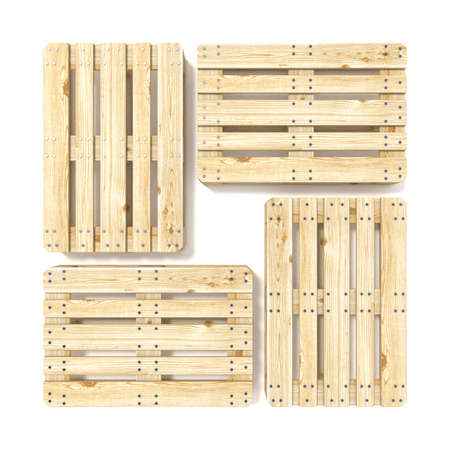 Wooden Euro pallets. Top view. 3D render illustration isolated on white background Imagens