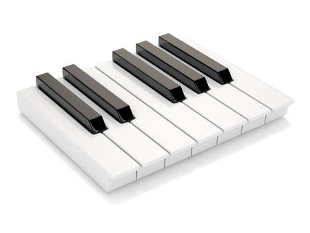 octave: Black and white piano keys. One octave. 3D render illustration isolated on white background