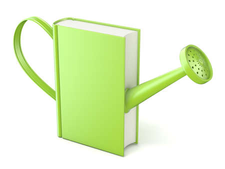 book concept: Green watering can book. Concept of education and knowledge. 3D render isolated white background Stock Photo