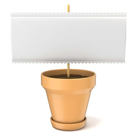 isolated sign: Clay plant pot with blank paper sign on wooden stick. 3D render illustration isolated on white background