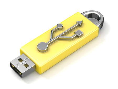 gigabytes: USB flash drive. 3D render illustration isolated on white background