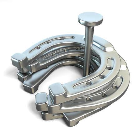 herradura: Herraduras de todo el clavo de hierro. 3D rinden la ilustración aislada en el fondo blanco Foto de archivo