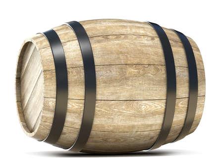 Houten ton. 3D render illustratie op een witte achtergrond