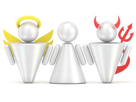 battle evil: Temptation concept. Woman, angel and devil figures. 3D render illustration isolated on white background