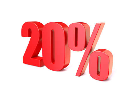 rebate: Red percentage sign 20. 3D render illustration isolated on white background