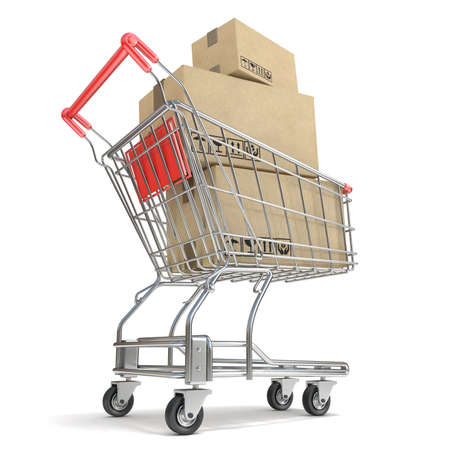 commercial painting: Shopping cart with boxes. 3D render illustration isolated on white background