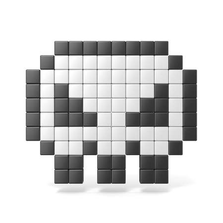 nice body: Pixelated 8bit skull icon. Front view. 3D render illustration isolated on white background Stock Photo
