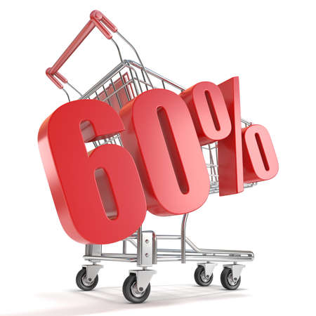 sixty: 60% - sixty percent discount in front of shopping cart. Sale concept. 3D render illustration isolated on white background