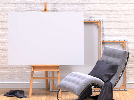 easy chair: Mock up canvas frame with grey easy chair, easel, floor and wall. 3D render illustration