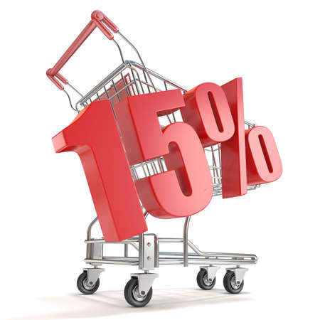 fifteen: 15% - fifteen percent discount in front of shopping cart. Sale concept. 3D render illustration isolated on white background Stock Photo
