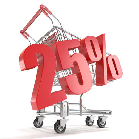 twenty five: 25% - twenty five percent discount in front of shopping cart. Sale concept. 3D render illustration isolated on white background