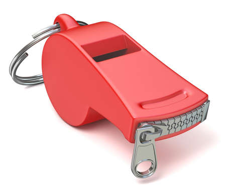 Red whistle with a closed zipper. 3D render illustration isolated on white background Фото со стока