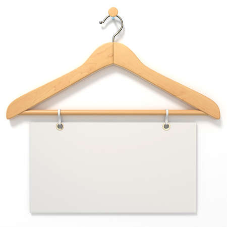 gifttag: Wooden hanger with blank tag. 3D render illustration isolated on white background